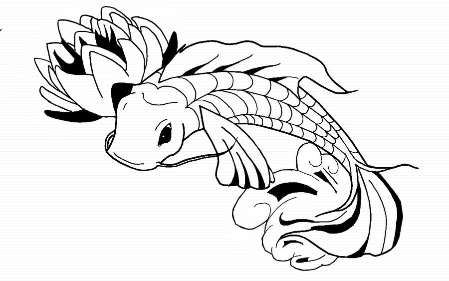 koi fish coloring pages - tattoo koi fish by benjiprice on deviantart