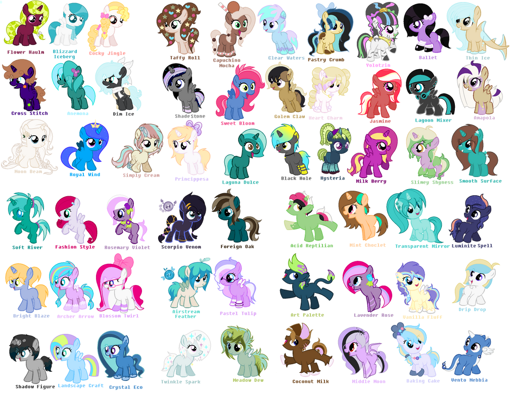 my little pony names - 1015×787