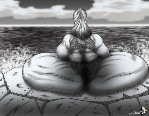 Wide Butt on Sea Wall (3-25-2021)