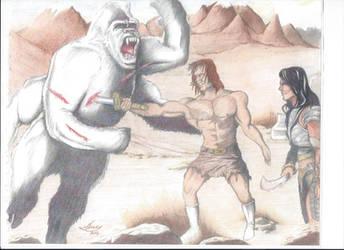 White Ape Battle by westernman