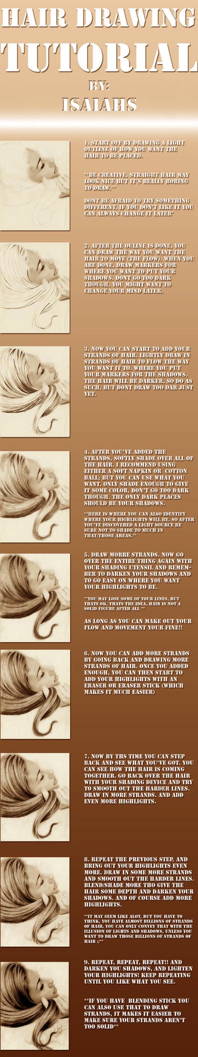 .Hair Drawing tutorial by IsaiahStephens
