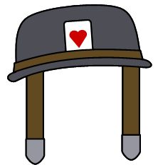 The helmet with an Ace of Hearts card by Belinda-Emily-Back