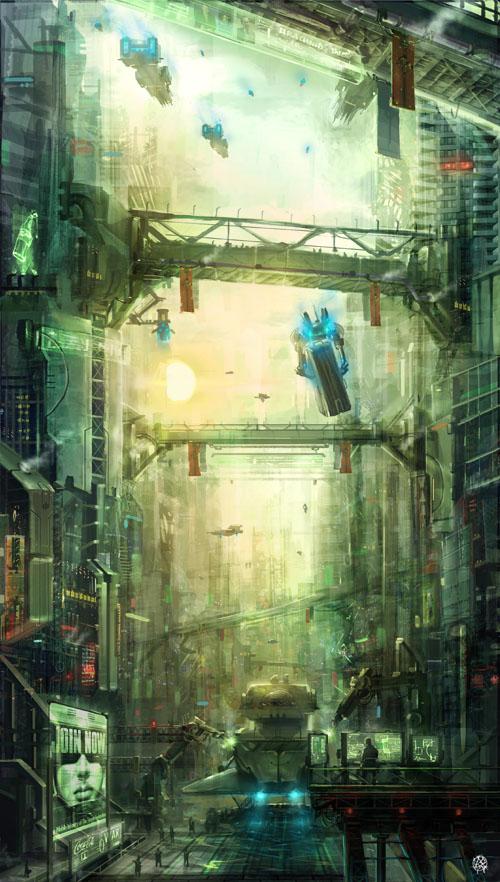 in between steel giants by TheArtofSaul