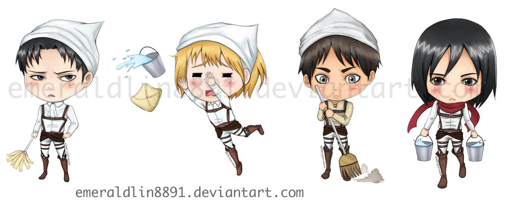 :SnK: Cleaning version Chibis by EmeraldLin8891