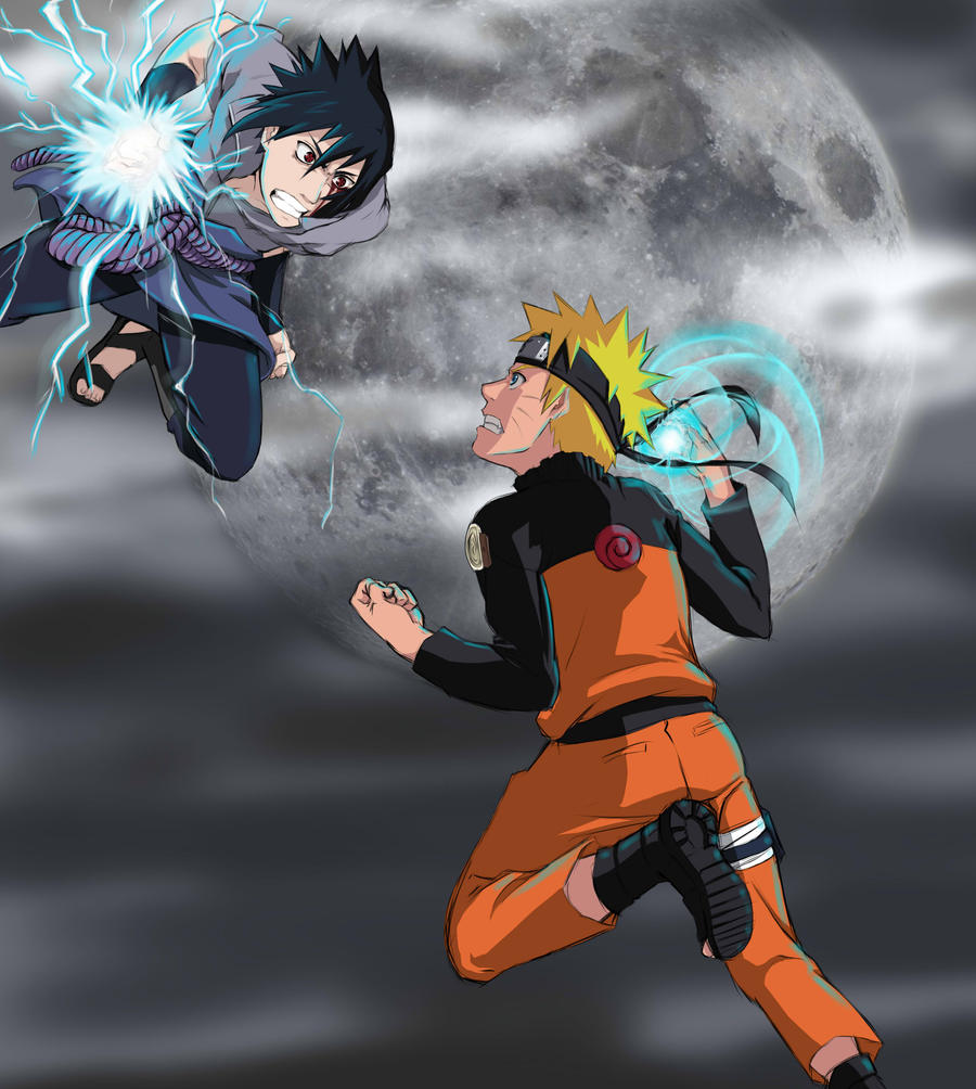 how to draw naruto and sasuke fighting