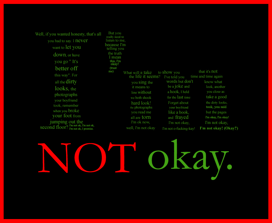 Mcr Im Not Okay Typographs By Pancake Fairy On Deviantart