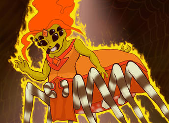 Holly Jolly Horror - Flaming Spidergirl by wandering-ronin