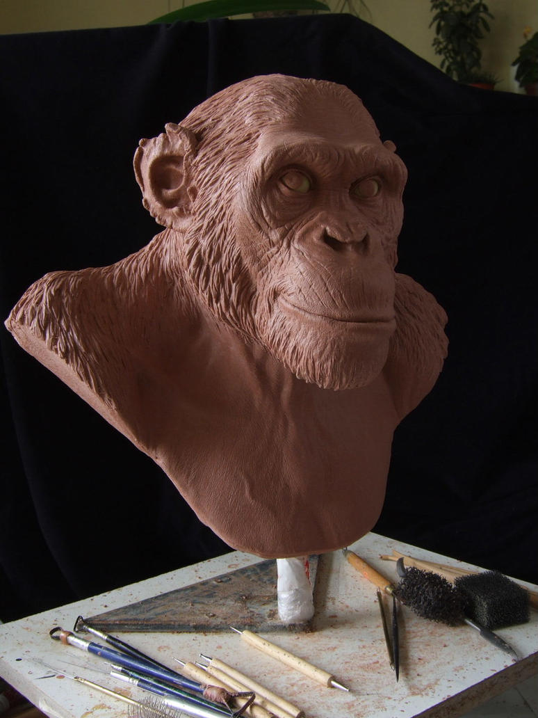 Chimpanzee sculpt. Work in progress by revenant-99