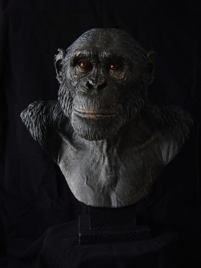 Chimpanzee sculpt - Painted resin cast by revenant-99
