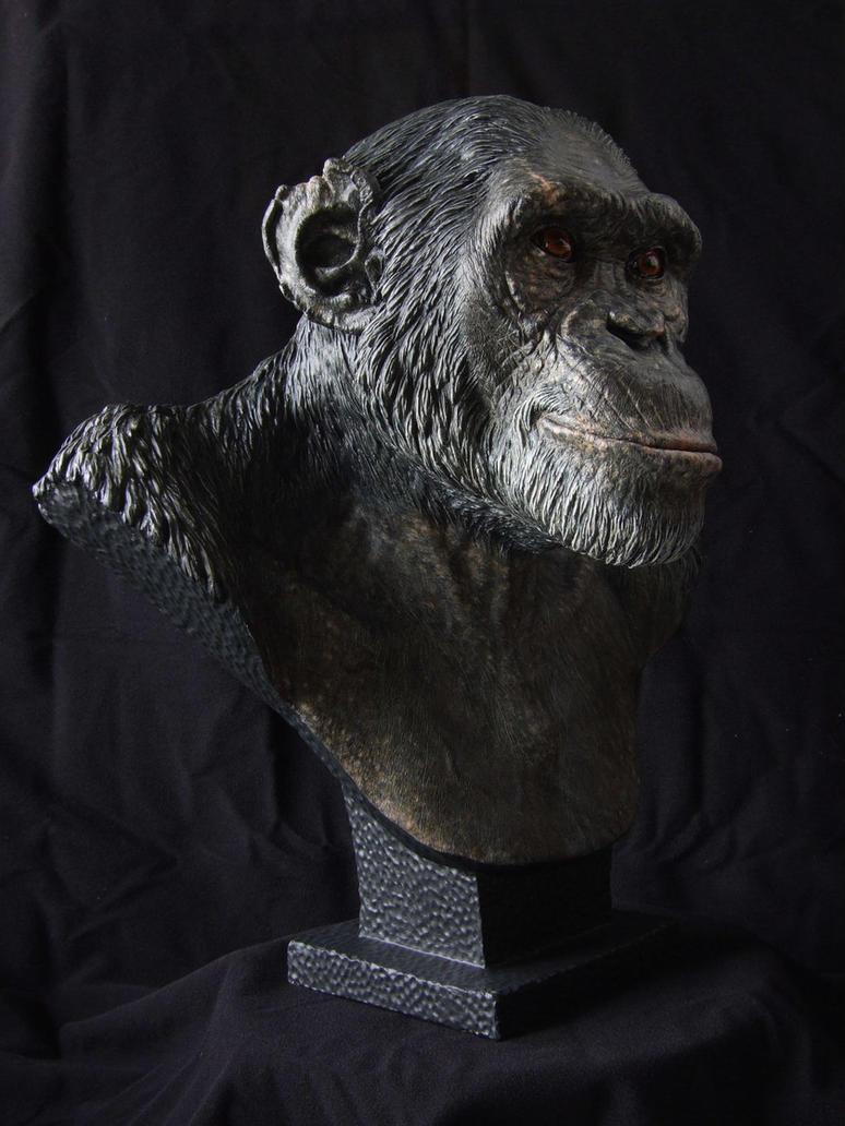 Chimpanzee sculpt -  Painted resin cast, side view by revenant-99