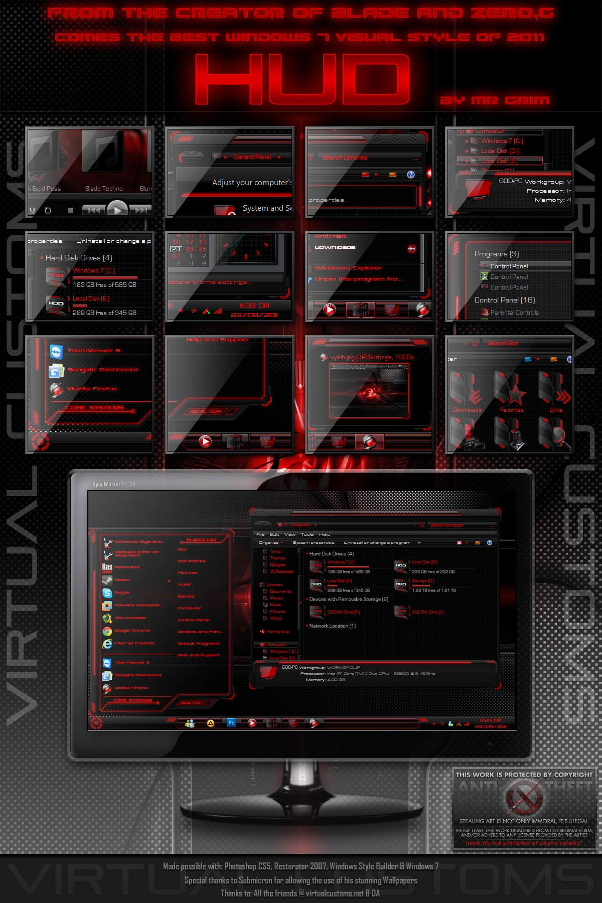 HUD Red  Windows 7 Theme Free Download by CreativX006