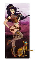 Steampunk girl and her cat by jenji-mccool