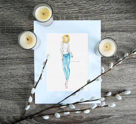 Khloe Kardashian Inspired Fashion Sketch by lynetteenright