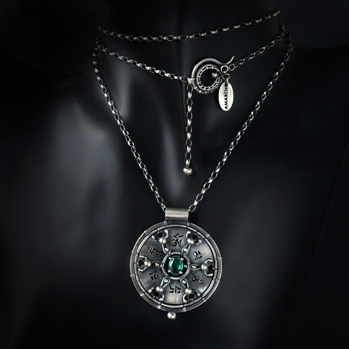 Om mani padme hum + emereld - necklace 1 by BartoszCiba