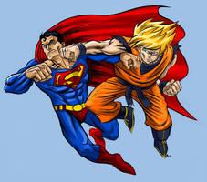Goku vs. Superman by ZombPunk