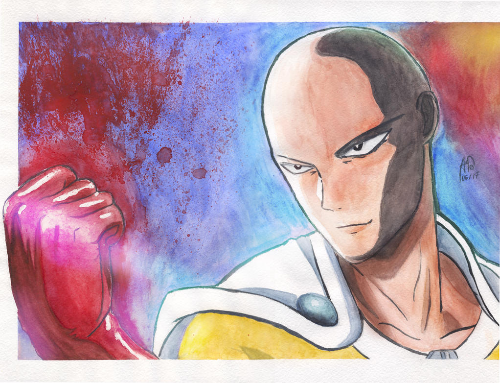 One Punch Man - Saitama WaterColour by Architect-of-Dreams