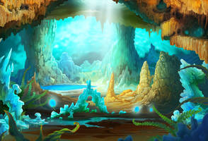 Stalactite cave background by Hofarts