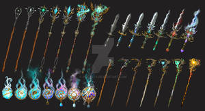 set of magical weapons