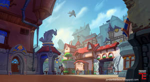 Dungeon Defenders 2 Town Square Concept Art