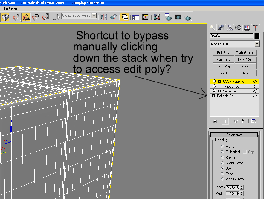 Bypass stack in 3ds max — polycount