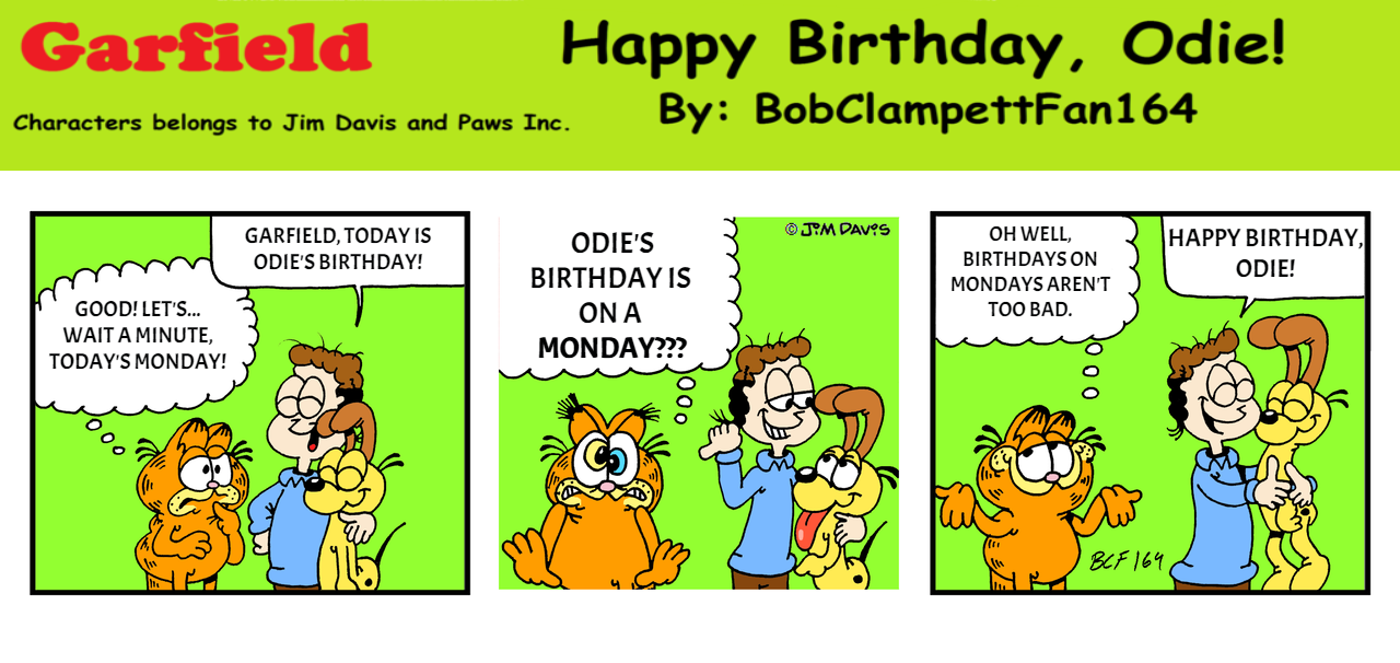 Garfield Bcf164 Comic Odie S 38th Birthday By Bobclampettfan164 On Deviantart