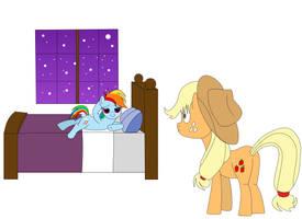 pony ready for 'Action' RainbowDash and Applejack by razorsharpfang