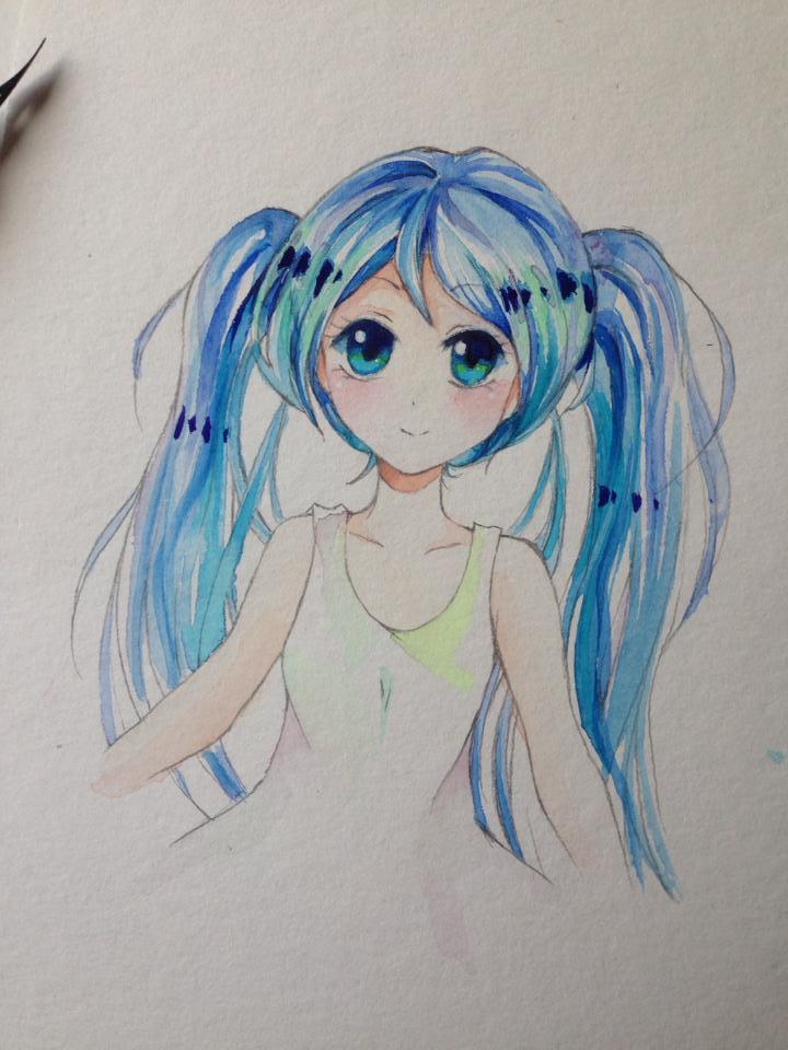 Hatsune Miku Water Colors by Lemonsquasch