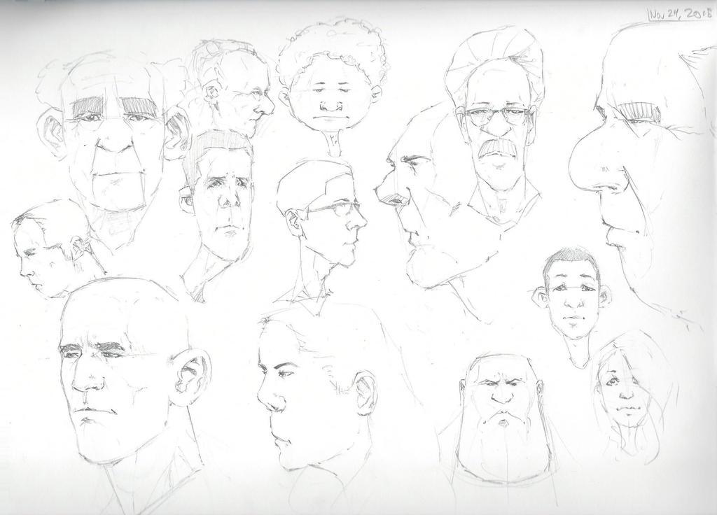 Head Sketches! by KlavensCartoons