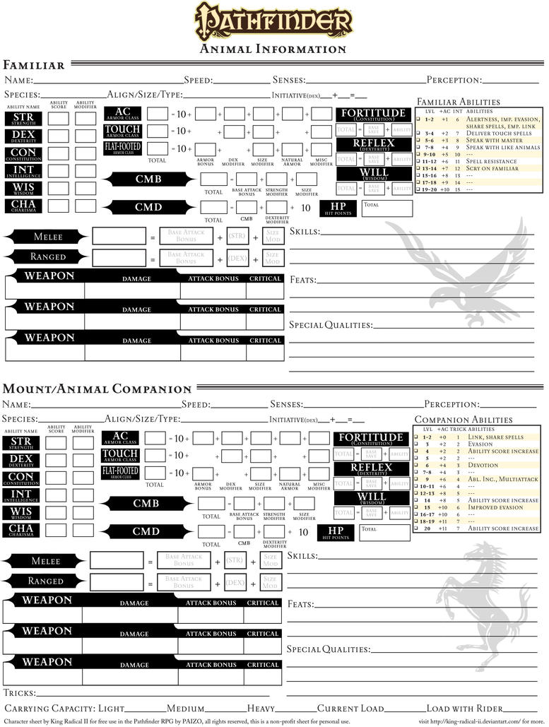 Character Sheet Page 4 Companions And Familiars By King
