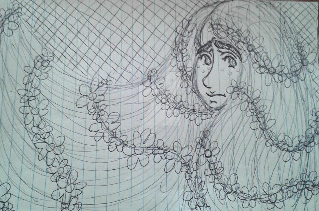 Flower Child Line Drawing : Recent rough sketch sad flower child by voltron effect on