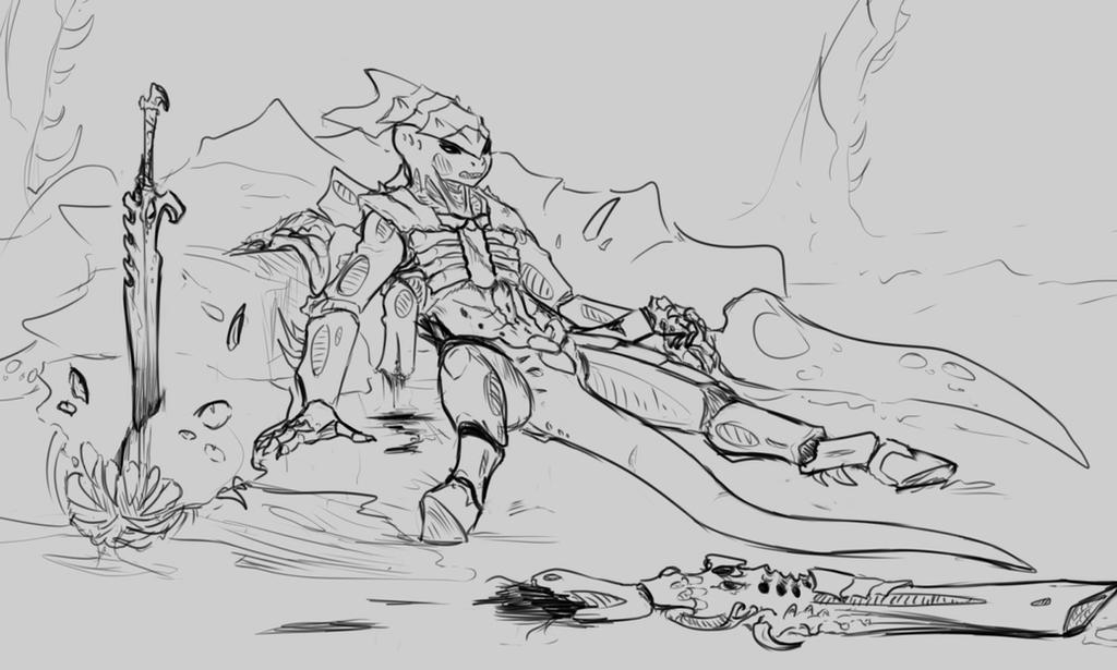 wounded Kronos warrior by TonyKatze