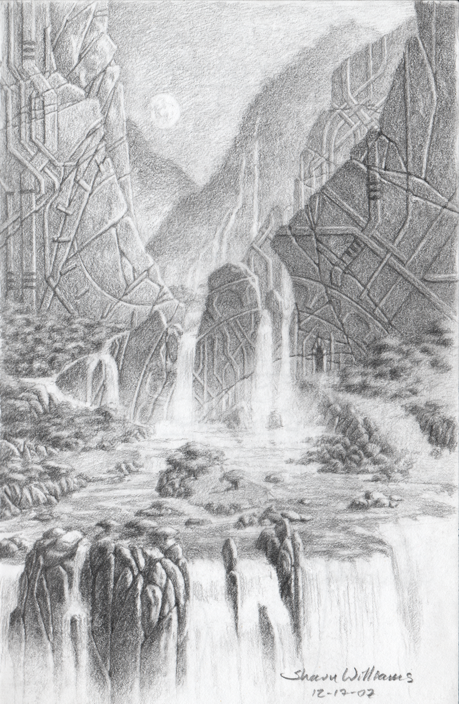 Waterfall at the ancient ruins by shauncharles on DeviantArt