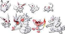 Albino Pokemon Sprite Set by srbarker