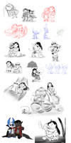 Big Sketch Dump - Lilo and Stitch by Lullaby-of-the-Lost