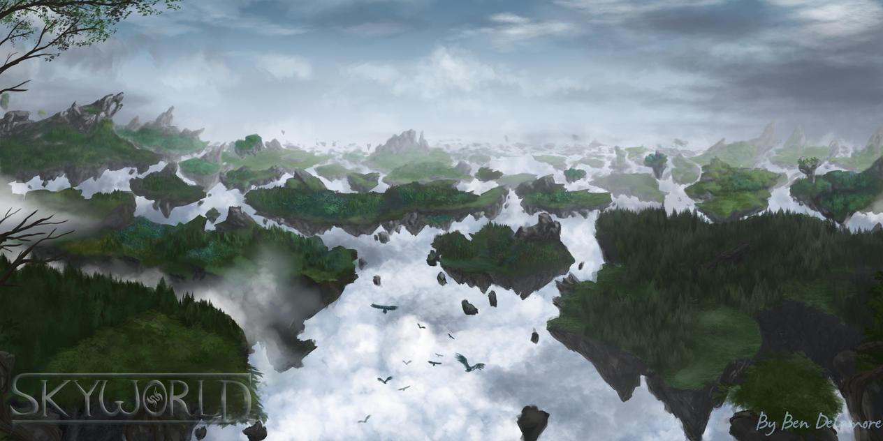 Skyworld Environment Concept Art by Ben-Delamore