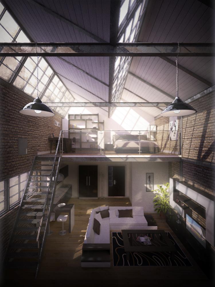 old factory apartment by speakerk on deviantart. Black Bedroom Furniture Sets. Home Design Ideas