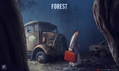 Burned Car in Forest by rajrkb