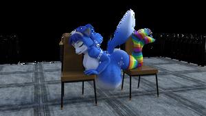 Biggest belly preggo between chairs in stockings