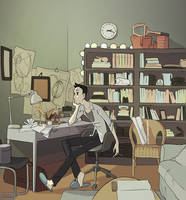 Emil at his desk by poly-m