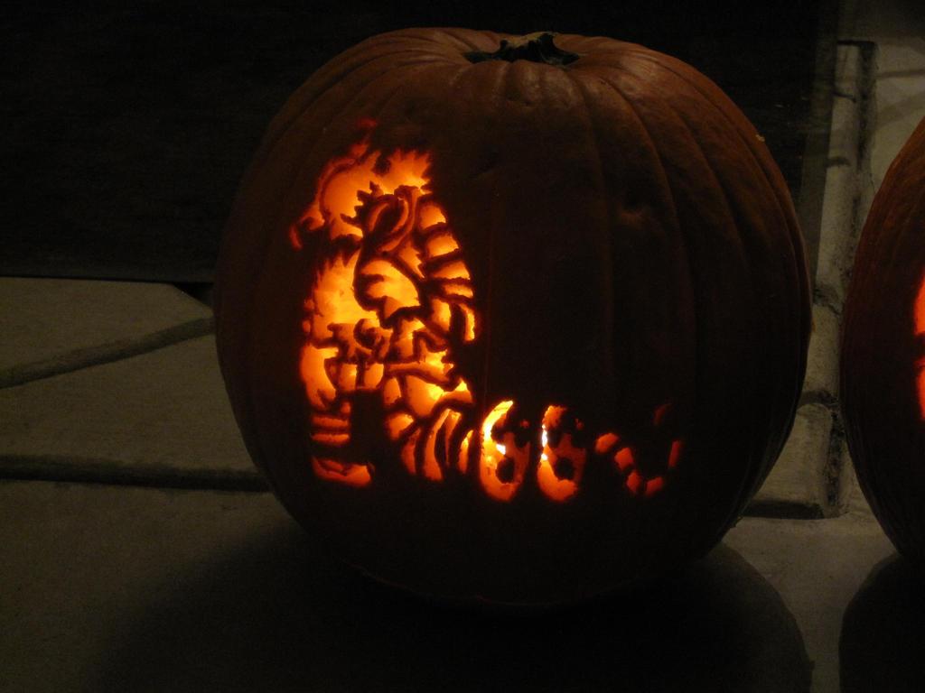 Calvin and Hobbes Pumpkin by 50an6xy06r6n