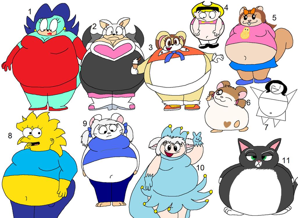 Fat cartoon girls by Maxtaro