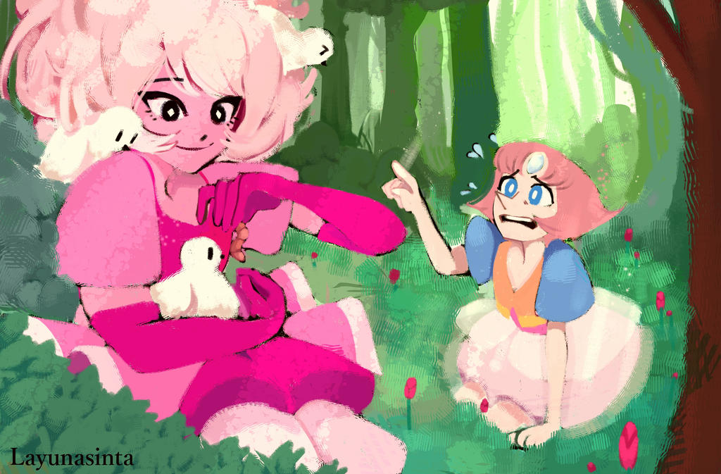 "Pink diamond and Pearl from Steven Universe fanart! ""Pink diamond on one of her escapades. Of course, as a diamond she always have her pearl on her side. This is the first time Pearl has seen her D..."