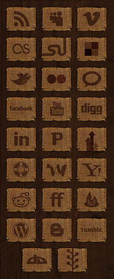 Woven Fabric Social Media Icon Set by socialbeaker