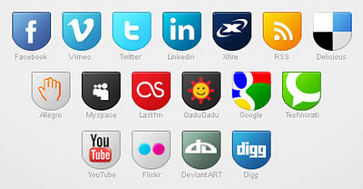 Social Media badge icons set by EffectiveFive by socialbeaker