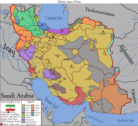 Ethnic map of Iran by JustHeh