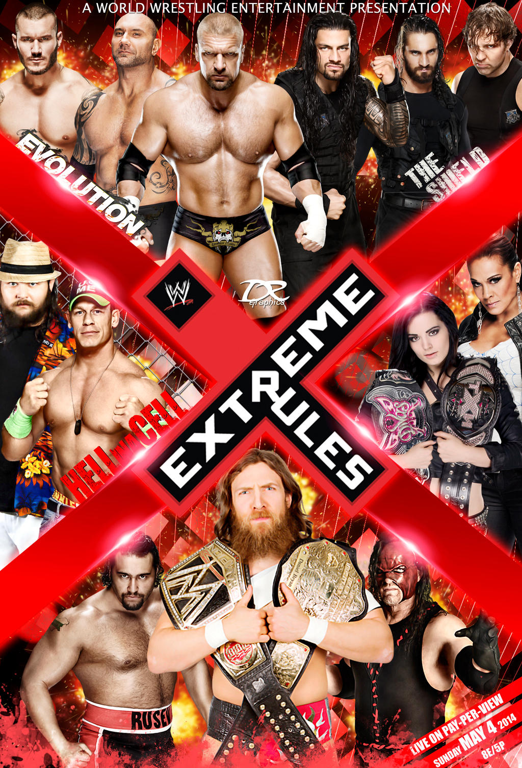 WWE Extreme Rules 2014 poster by Dinesh-Musiclover