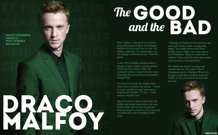 Wizarding Weekly Spread: Draco Malfoy by nhu-dles