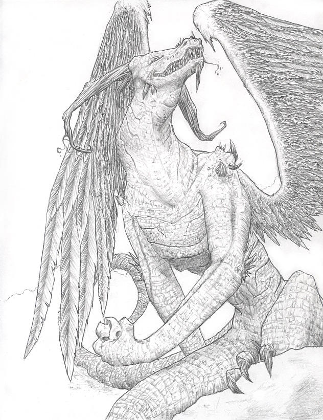 Dragon Drawing by Lizzy-John