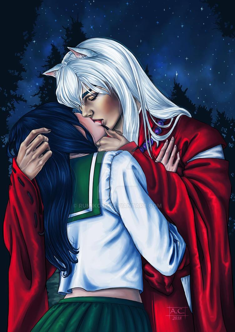 Inuyasha And Kagome Kiss Color Version By Rumiko86 On Deviantart