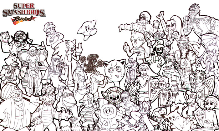 Super Smash Bros Brawl Cast By Unclechuckth On Deviantart Color Page Smash Bros